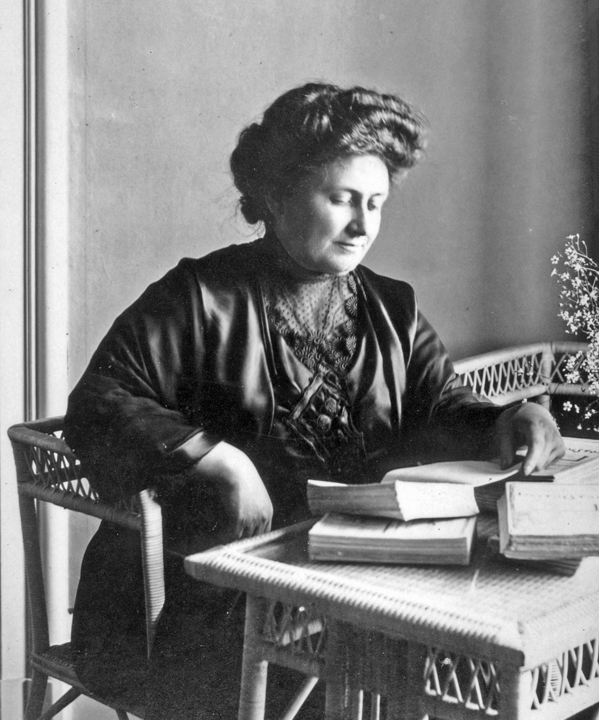 Maria Montessori sitting in her study Founder of montesssori method. Muss follows her method and teaching in South Beach in Temple Emanu-El